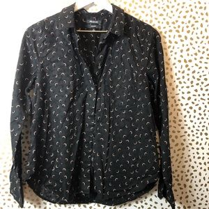 MADEWELL black crescent Printed Button up sz M